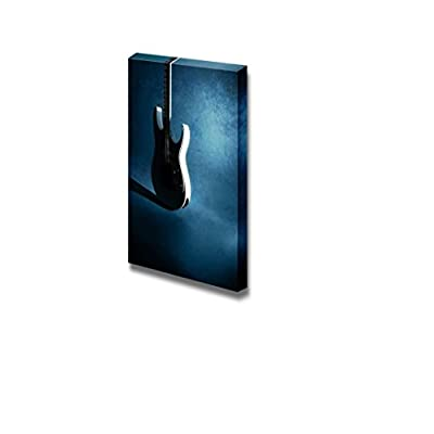 Classic Artwork, Lovely Picture, White Silhouette of Guitar on Grunge Blue Background Musical Instrument Concept Wall Decor