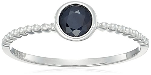 10k White Gold Genuine Blue Sapphire Solitaire Beaded Shank Stackable Ring, Size 7