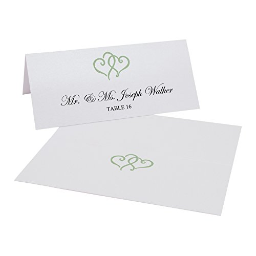 (Documents and Designs Linked Hearts Easy Print Place Cards (Select Color), Sage, Set of 60 (10 Sheets))