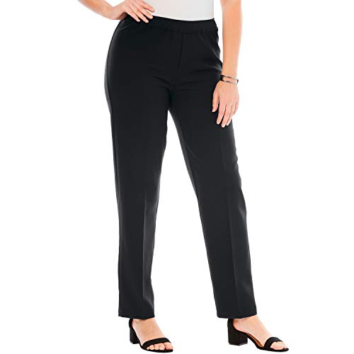 Roamans Women's Plus Size Petite Bend Over Classic Pant - Black, 24 WP ()