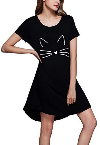(GUANYY Sleepwear Women's Nightgown Cotton Sleep Shirt Printed Short Sleeve Soft Nightshirt(Black,Large))