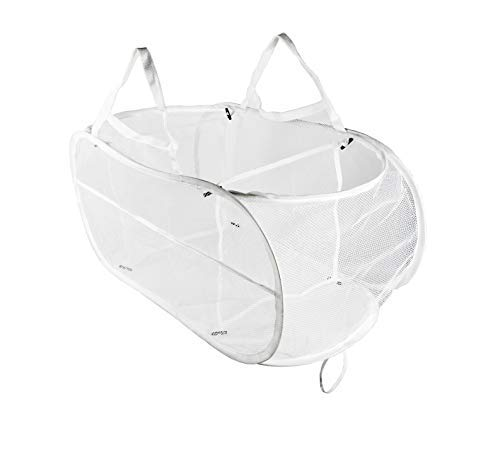 Collapsible Mesh Laundry Hampers, Knocbel 3 Compartment Pop-up Sorter Baskets with Durable Portable Handles