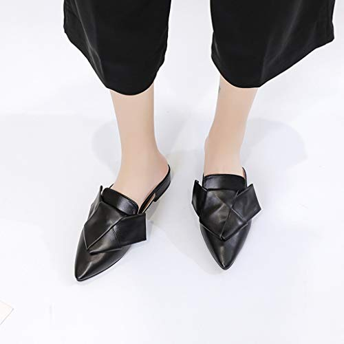 Moda Mujer Tacón De Punta Sexy Zapatillas Sandalias Grueso Canifon Zapatos Antideslizantes Negro Estrecha Planos 1qp5dHBxw
