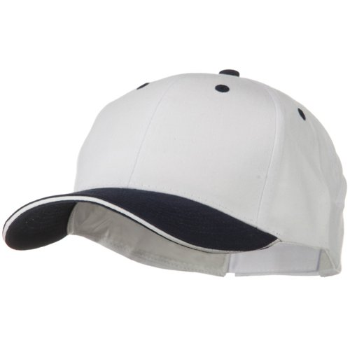 2 Tone Brushed Twill Sandwich Cap - Navy White OSFM Brushed Twill Sandwich