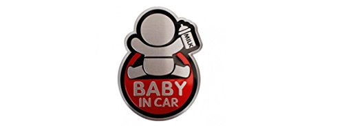Baby in Car Aluminum Emblem Adhesive on the backing (Baby in Car Milk - Sign Versace