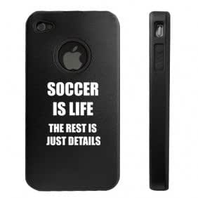 Apple iPhone 4 4S Black D4606 Aluminum & Silicone Case Cover Soccer is Life
