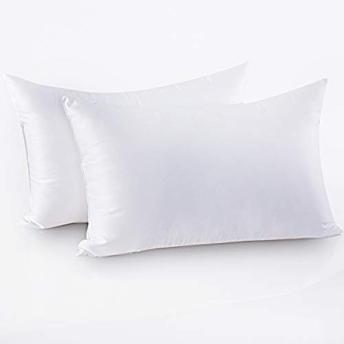 Friendriver Luxury Hotel Quality Bed Pillow [Set of 2] Family Plush Gel Bed Pillow,Suitable for Side and Back Sleeping Pillows,Soft and Breathable Polyester Fiber Filling(Size,White