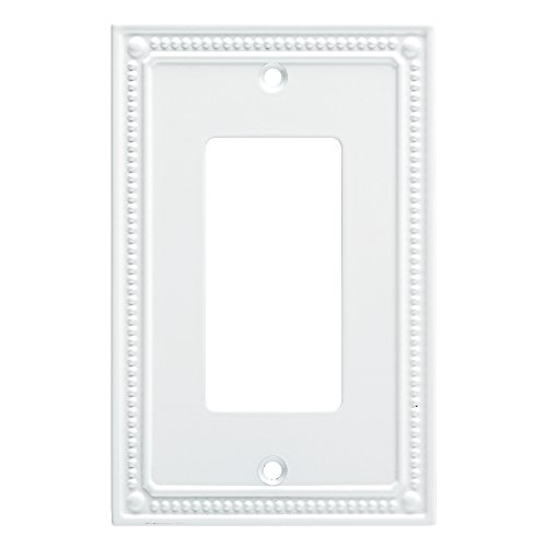 Outlet Cover Bedroom (Franklin Brass W35060-PW-C Classic Beaded Single Decorator Wall Plates, Pure White)
