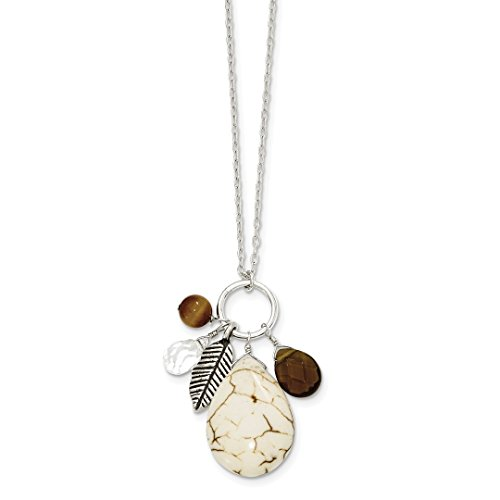 925 Sterling Silver Crazy Lace Agate/clear Smoky Qtz/tiger Eye Chain Necklace Pendant Charm Natural Stone Fine Jewelry For Women Gift Set (Wrapped Pillar Silver)