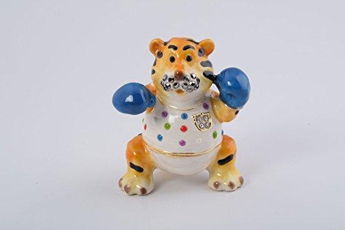 Chinese Zodiac Tiger Faberge Styled Animal Trinket Box Enamel Painting Handmade By Keren Kopal
