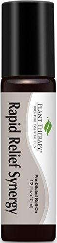Plant Therapy Rapid Relief (formerly Pain-Aid) Synergy Pre-Diluted Roll-On. Ready to use! 100% Pure, Therapeutic Grade Essential Oils Diluted in Fractionated Coconut Oil. 10 ml (1/3 oz).