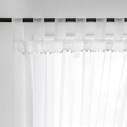 Selectex Linen Look Pom Pom Tasseled Sheer Curtains - Tab Top Voile Curtains for Living and Bedroom, Set of 2 Curtain Panels (52 x 84 inch, White) (Tab Top Sheer Panels)