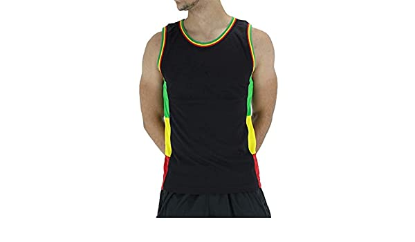 Hombre Rasta Diseñador Camiseta sin Mangas, Negro - Negro, S ...
