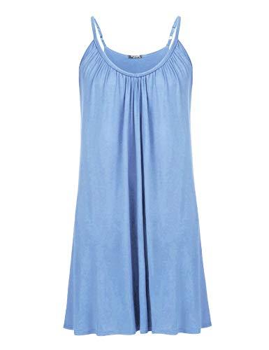 IN'VOLAND Womens Plus Size Nightgown Sleeveless Sleepwear Summer Cotton Sleepshirts Slip Night Dress XL-5XL Clear Blue