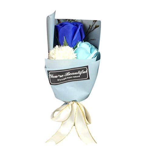 Ouniman 3Pcs Carnation Soap Flower Scented Soap Petals with Gift Box Great Gift for Anniversary Birthday Wedding Mother's Day Valentine's Day - Blue