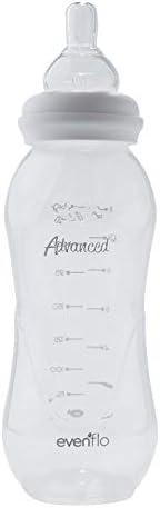 Advanced by Evenflo, Biberón anticólico, cuello delgado, color transparente, 8 oz,MEX