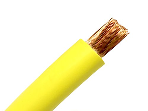 2 AWG HEAVY DUTY Extra Flexible Welding Lead Car Audio Battery Cable 600 VOLT - Made in the USA (20 FT, Yellow)