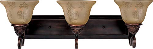 Maxim Lighting 11232SVOI Symphony 3-Light Bath Vanity, Oil Rubbed BronzeFinish,ScreenAmberGlass,MBIncandescentIncandescentBulb,60WMax.,DrySafetyRating,StandardDimmable,MetalShadeMaterial,RatedLumens ()