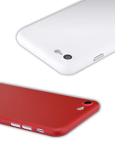 Funda iPhone 7 Plus, Zarya [2 piezas] [0,35mm] Ultra Fino Emparejamiento Perfecto Protector Duro Carcasa for iPhone 7 Plus(iPhone 7 Plus,Negro mate translúcido & Rojo) Jet White & Rosso