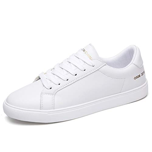 Zapatos de Goma de de Casual Zapatos Blanco 9861 de Cuero Mujer Zapatillas de otoño Mujeres Flat Oxford Zapatillas Encaje 1w6nX8O