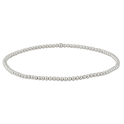 Sterling Silver Elastic - Silverly Women's .925 Sterling Silver Polished Tiny 2 mm Bead Ball Elastic Stretch Bracelet