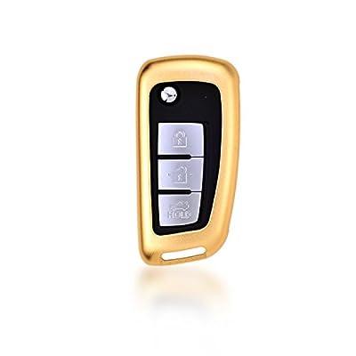 [MissBlue] Aircraft Aluminum Key Fob Cover For Nissan Remote Key, Protector Case Fits Nissan Sylphy Qashqai X-Trail Tiida Lannia Succe Car Key, Unisex Leather Key Fob Keychain Key Holder for Men Women
