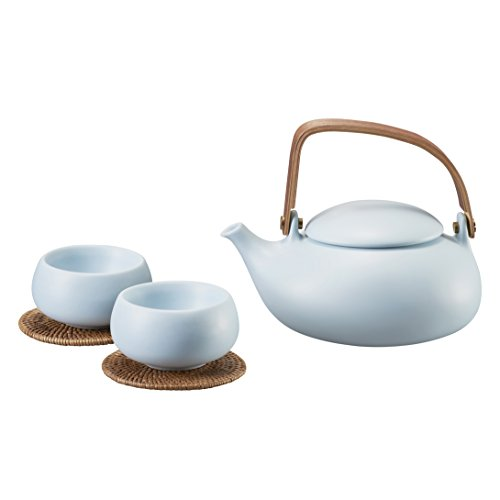 ZENS Light Blue Ceramic Tea Set Smooth Matte Texture, 28oz Teapot with Natural Bentwood Handle, Two Double Wall Teacups & 2 Rattan Coasters, Stainless Steel Strainer for Loose Leaf Tea