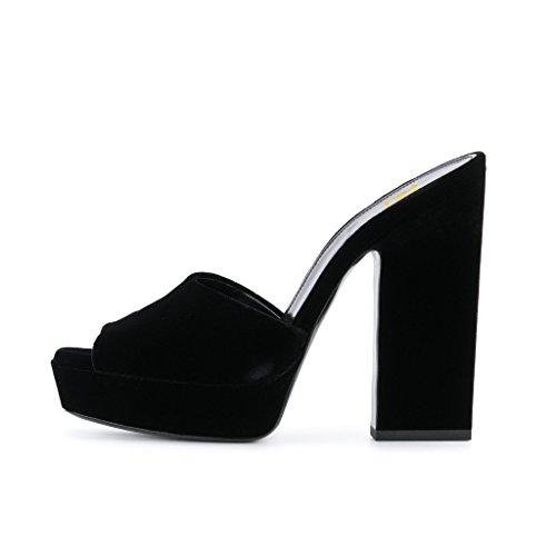 FSJ Women Peep Toe Slip On Mules Chunky Heels Platform Sandals Slide Comfy Shoes Size 4-15 US Black ehNNUGb4e7