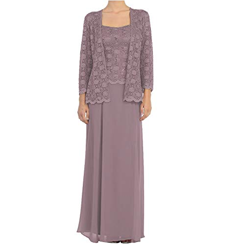 (Mother of The Groom Gowns A Line Mother Gowns Two Piece Evening Dress Mauve )
