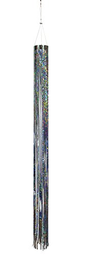 In the Breeze Silver Holographic Mylar Windsock Hanging Decoration - Decorative and Humane Bird and Pest (Hanging Bird Decoration)