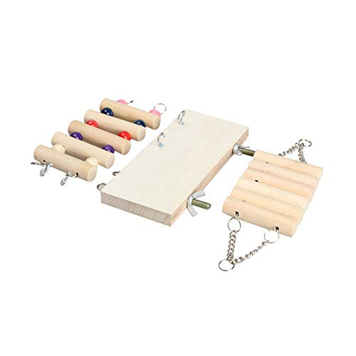3 in 1Set Pet Wooden Toys Mouse Hamster Parrot Hanging Ladder Swing Shelf Cage
