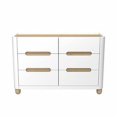 Storkcraft Roland 6 Drawer Dresser, White/Natural, Kids Bedroom Dresser with 6 Drawers, Wood & Composite Construction, Ideal for Nursery, Toddlers Room, Kids Room - BEAUTIFUL DESIGN: This Storkcraft Roland 6-Drawer Dresser has an attractive, modern design that will bring a touch of elegance to any bedroom or nursery. This easy-to-assemble dresser is the perfect combination of elegant design & practical function. The trendsetting storage solution for your baby's nursery, the Status Roland 6 Drawer Dresser features unique, round edges & sleek curves for contemporary style. Dresser features 6 spacious drawers on euro-glide metal tracks with built-in safety stops ORGANIZATION MADE EASY: With 6 spacious drawers to fit clothes, accessories or toys, the Status Roland 6 Drawer Dresser will help you keep the nursery, toddler's room or kid's room neat & organized. The stylish modern design will look beautiful for years. - dressers-bedroom-furniture, bedroom-furniture, bedroom - 31OY8GiSFsL. SS400  -