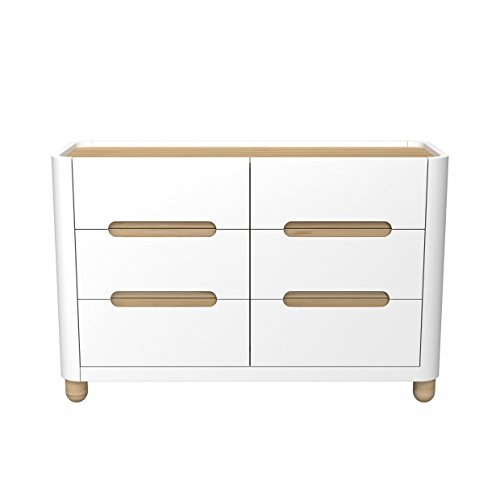 Storkcraft Roland 6 Drawer Dresser, White/Natural, Kids Bedroom Dresser with 6 Drawers, Wood & Composite Construction, Ideal for Nursery, Toddlers Room, Kids Room