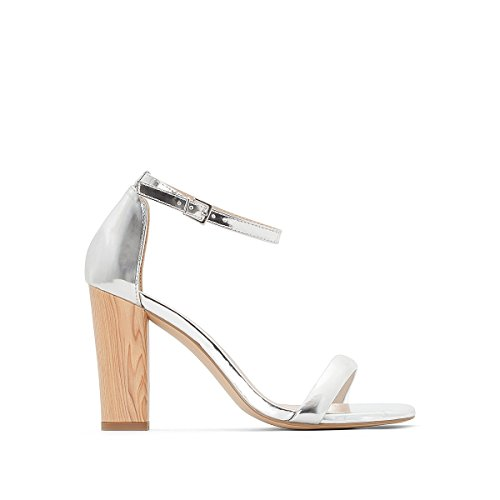 La Redoute Collections Womens Mirror Sandals with Wooden Effect Heel Grey