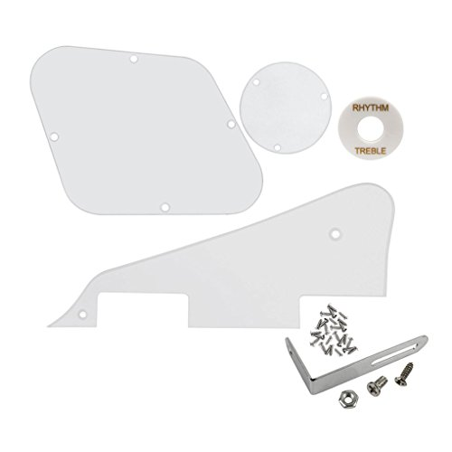 FLEOR 1Ply Transparent Clear Guitar Pickguard Scratch Plate Back Plate Guitar Screws Set & Toggle Switch Plate(White) & Silver Bracket Fit Gibson Les Paul Pickguard Replacement