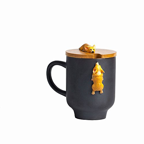 - Corgi Mug with Original Bamboo Lid,Handcrafted Cute Corgi Gift Coffee Mug Tea Cup Perfect Novelty Gift-(12oz,350ML)(Black, Corgi)