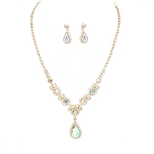 (Elegant Ab Crystal Rhinestone Gold Necklace Jewelry Earrings Set Women Prom Bride Pageant)