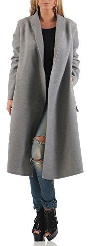 Unica malito Basic Chiaro Design Cascata Taglia Cappotti 3050 Grigio Cardigan lungo Donna zrqzBSwZ