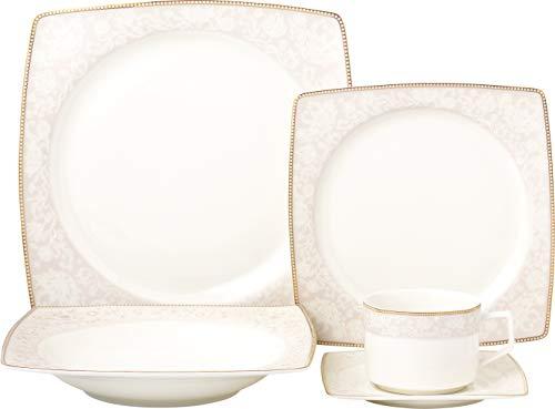 Royalty Porcelain Fancy Square Design 20-pc Dinnerware Set 'Pink Blossom', Premium Bone China Porcelain