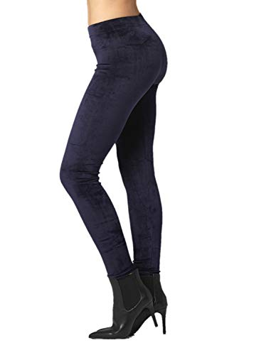 (Conceited Velour Velvet Leggings for Women - A236 - Navy Blue - 2X / 3X)