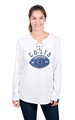 Icer Brands NFL Indianapolis Colts Women's Fleece Sweatshirt Lace Long Sleeve Shirt, White, ()