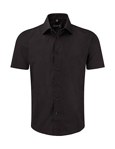 pflegeleichtes körperbetontes Kurzarm Stretch-Hemd , Farbe:Black;Größe:S
