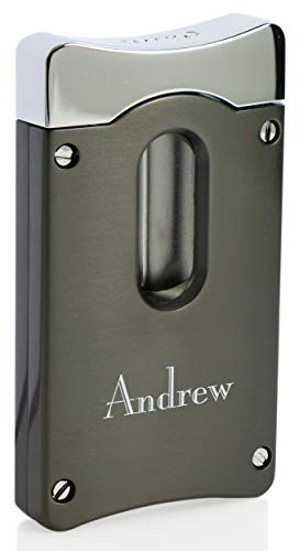 - Personalized Caseti Gunmetal Wedge V Cigar Cutter with Free Laser Engraving (Text)