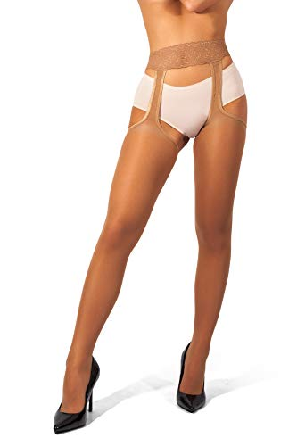(sofsy Suspender Tights Garter Belt Pantyhose Mock Stockings 20 Denier [Made in Italy] Tan 2 - Small)
