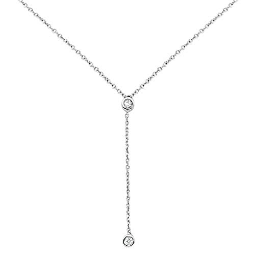 14K Gold, White Gold or Rose Gold 0.06 cttw Diamond Bezel Lariat Drop Pendant Necklace (14, 16, 18 Inches), 18