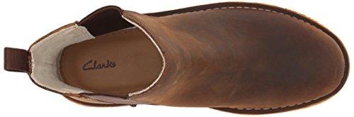 Clarks Kvinna Öken Topp. Chelsea Boot Bivax Brunt Läder
