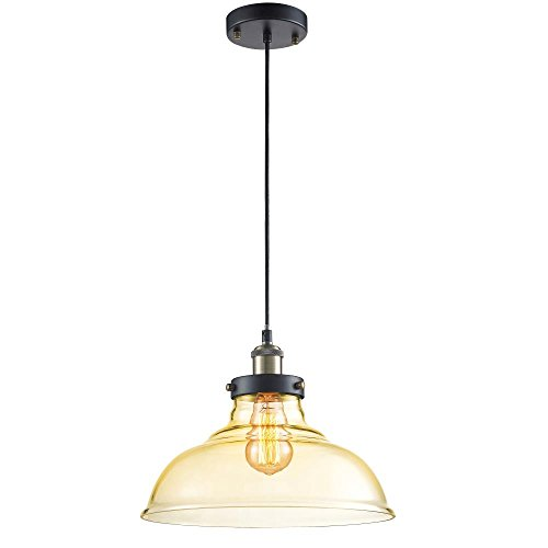 SereneLife Home Lighting Fixture – 70.9'' Adjustable Pendant Hanging Ceiling Light with 13.3'' Glass Dome Shaped Sculpted Vintage Traditional Lamp Shade Sculpted and Screw-in Bulb Socket (SLLMP3112)