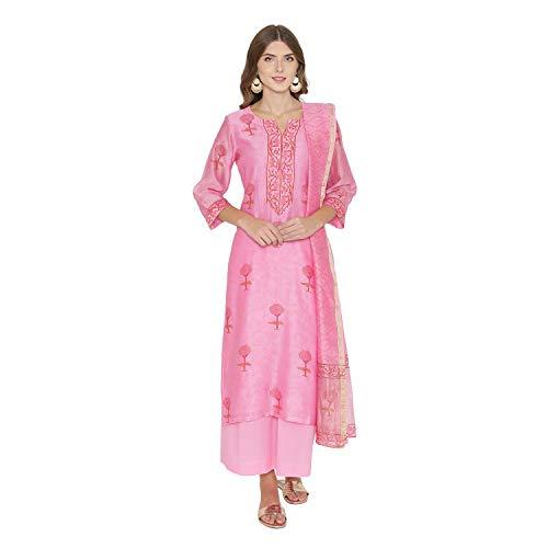 Kameez Dress Salwar Silk - PinkShink Pink Pure Chanderi Silk Kurta Palazzo Dupatta Set (M) d295m