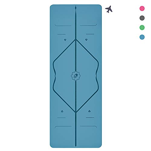 Liforme Travel Yoga Mat - The World's Best Eco-Friendly, Non Slip Yoga Mat with The Original Unique Alignment Marker System. Biodegradable Mat Made with Natural Rubber & A Warrior-Like Grip - Blue