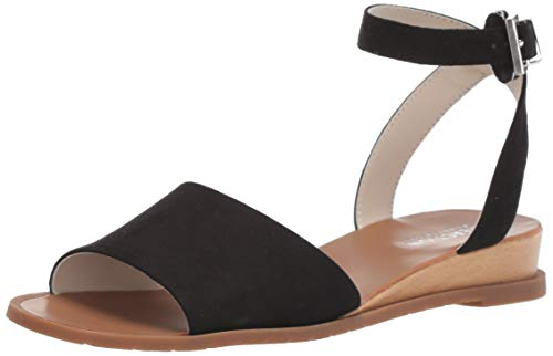 Kenneth Cole REACTION Women's Jolly Low Wedge Sandal with Ankle Strap Flat, Black, 7.5 M US
